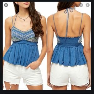 FREE PEOPLE BLUE WELL TRAVELED HALTER TOP